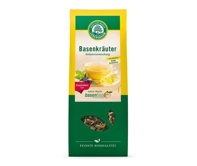Gehört zu einer basischen Ernährung: Basenkräuter Tee Lebensbaum - empfohlen von Sabine Wacker