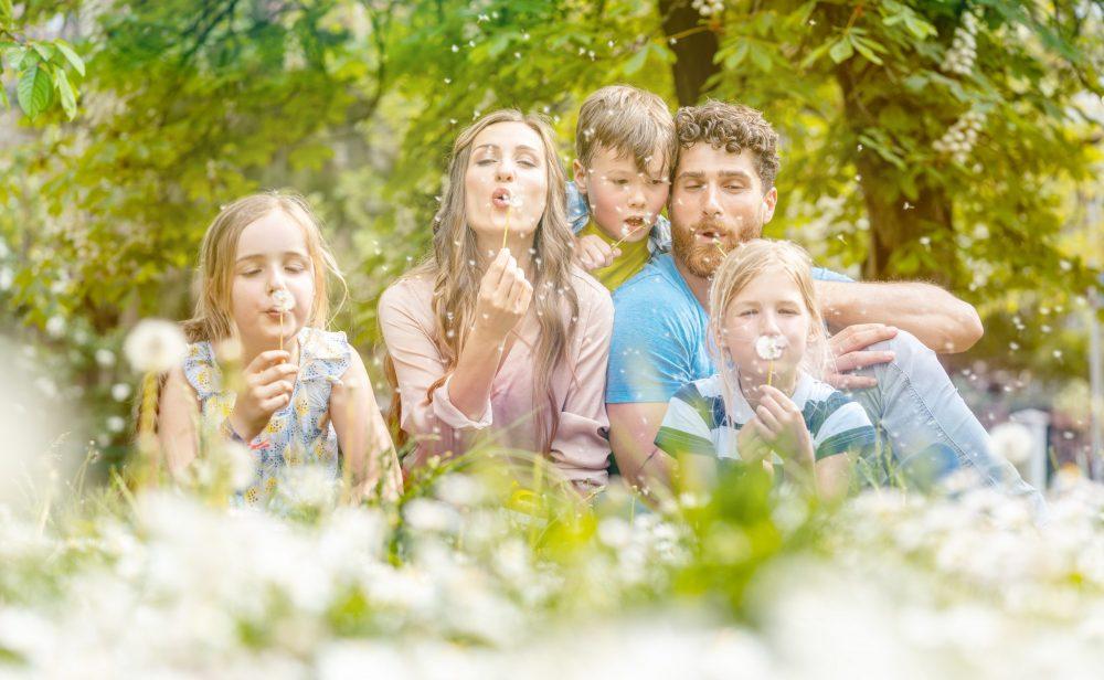 Familie auf Pusteblumewiese