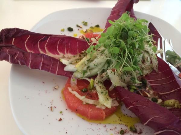 basenfasten Rezept Salat von Fenchel und Trevisano mit rosa Grapefruit Honigkresse und gerösteten Pistazien