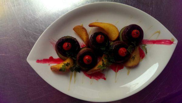Gefüllte Champignons mit feinster Tomaten-Blattspinat-Creme